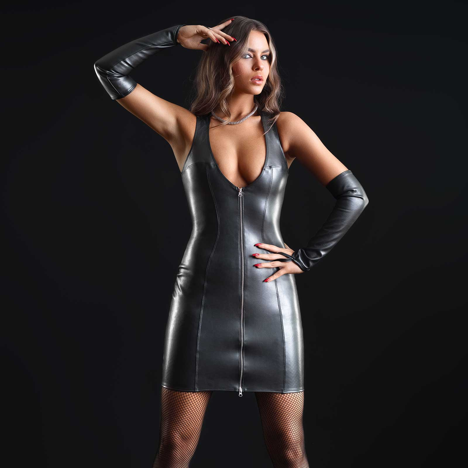 PATRICE CATANZARO Taylor Faux Leather Dress