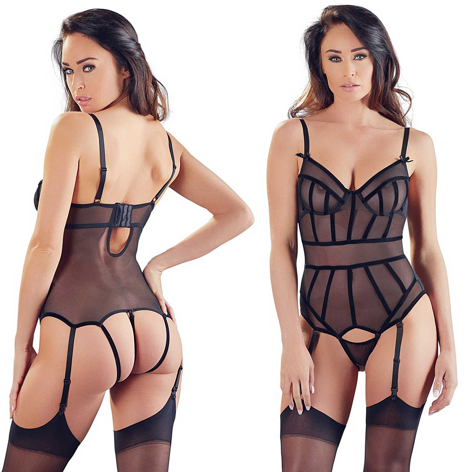 COTTELLI COLLECTION Mesh Body w/ Garters