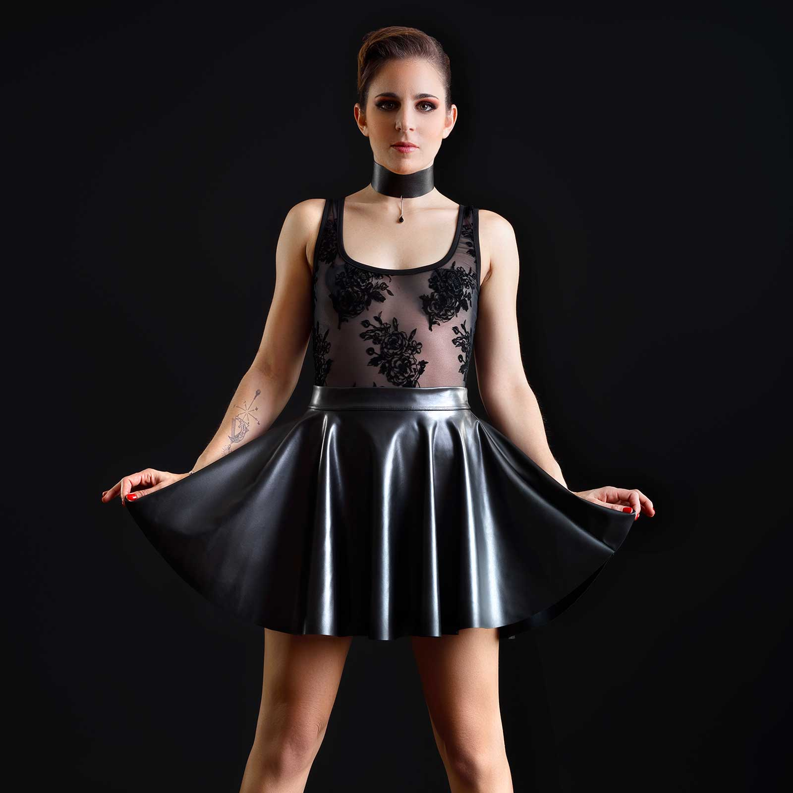 PATRICE CATANZARO Kat Faux Leather Circle Skirt