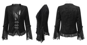 Detail image to PUNK RAVE Black Velvet Gothic Jacket