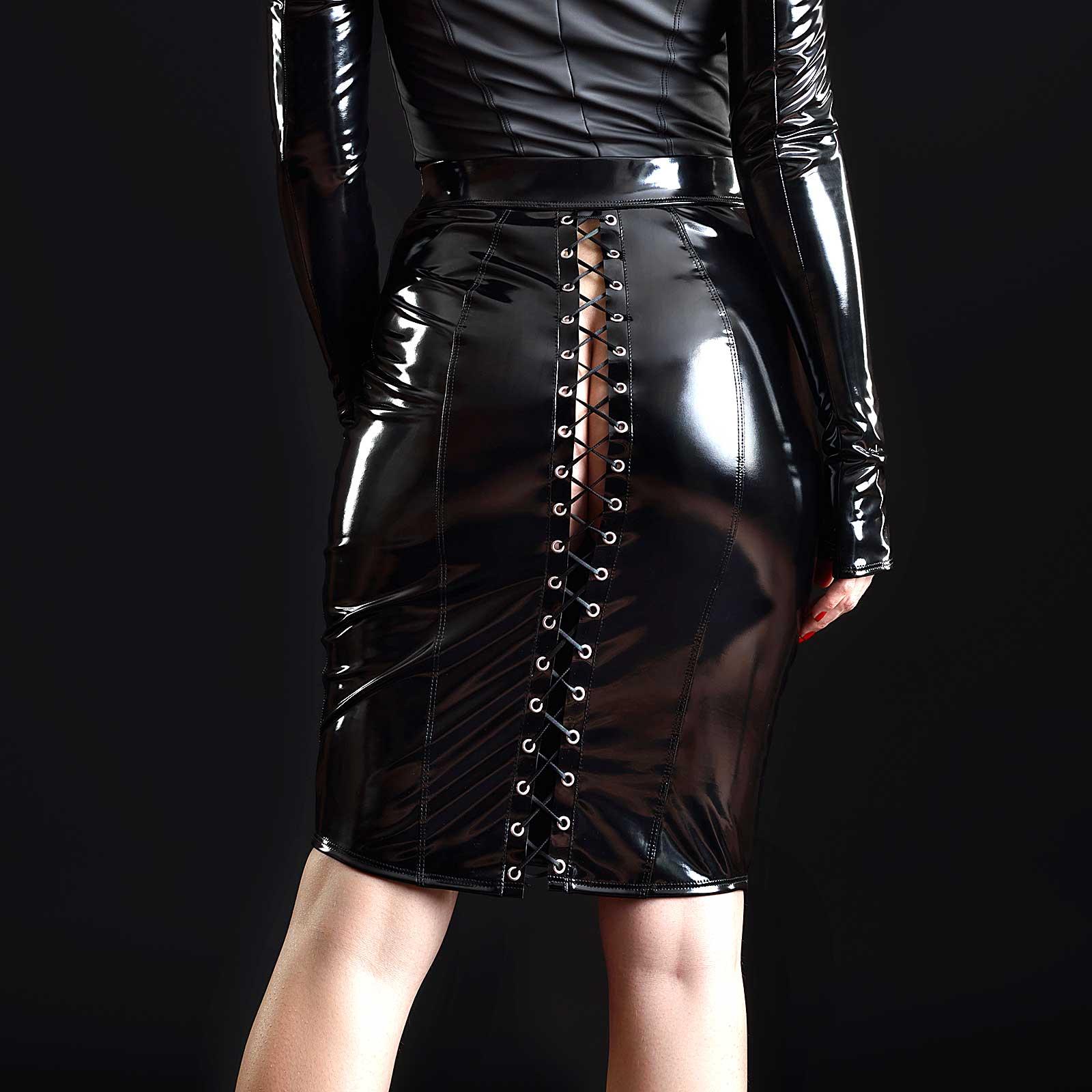 PATRICE CATANZARO Katerine Vinyl Corset Skirt Black