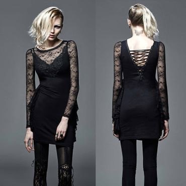 PUNK RAVE Gothic Mourning Dress Spitzenkleid