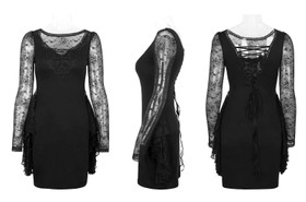 Detailbild zu PUNK RAVE Gothic Mourning Dress Spitzenkleid