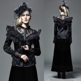 PUNK RAVE Victorian Dream Satin Rüschenbluse