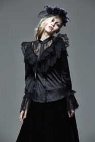 Detail image to PUNK RAVE Victorian Dream Satin Ruffle Top