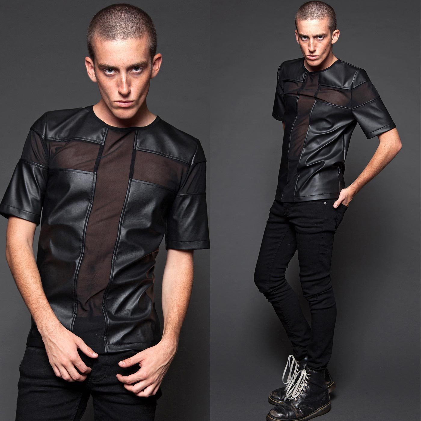 LIP SERVICE Crossing Mesh Fake Leather Top