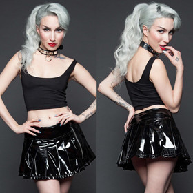 Detail image to LIP SERVICE 24HRS Vinyl Pleated Zip Mini Skirt Black