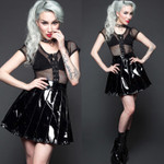 LIP SERVICE Vinyl Pleated Skirt 001