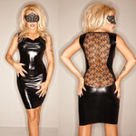NOIR HANDMADE Lace Back Wetlook Dress 001
