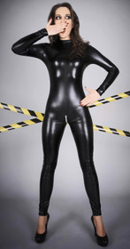 Detail image to NOIR HANDMADE Glossy Wetlook Catsuit