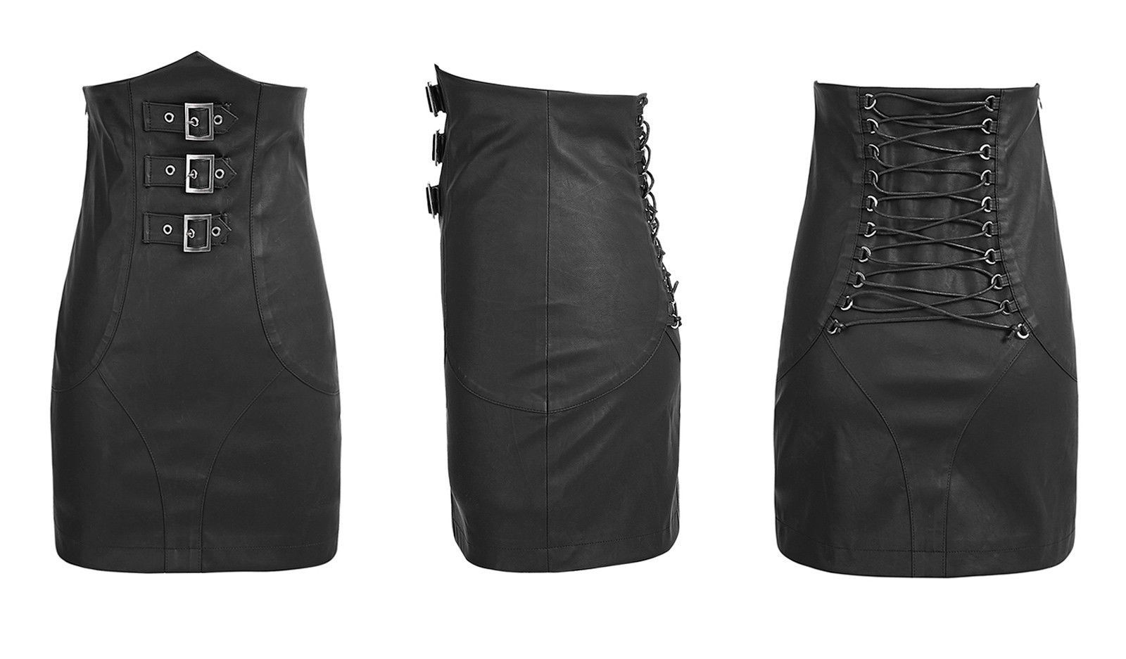 PUNK RAVE High Waisted Leather Skirt