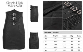 Detail image to PUNK RAVE High Waisted Leather Skirt