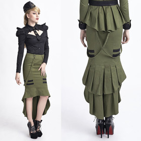 PUNK RAVE Uniform Fishtail Skirt Olive