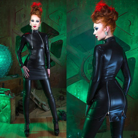 PATRICE CATANZARO Cheryl Wetlook Bondage-Kleid