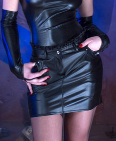 Detail image to PATRICE CATANZARO Maureen Wetlook Mini Skirt