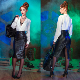 Detail image to PATRICE CATANZARO Melanie Fake Leather Skirt