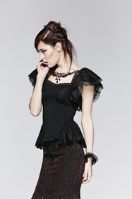Detail image to PUNK RAVE Butterfly Sleeve Gothic Top