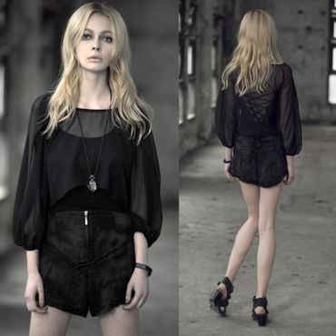 PUNK RAVE Pashionnette Organza Blouse Top Black