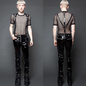LIP SERVICE Suspender PVC Pants Black