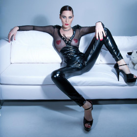 PATRICE CATANZARO Vera Vinyl Leggings Black