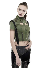 Detailbild zu PUNK RAVE Military Crop Top Oliv