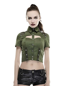 Detail image to PUNK RAVE Military Crop Top Olive