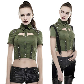 PUNK RAVE Military Crop Top Oliv
