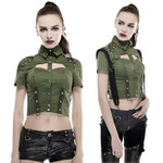 PUNK RAVE Military Crop Top Oliv 001