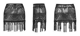 Detail image to PUNK RAVE Gothic Fringe Mini Skirt