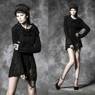 PUNK RAVE Rusty Dark Knit Dress Strickkleid