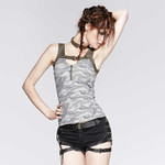 PUNK RAVE Grey Camo Top 001