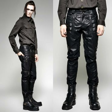 PUNK RAVE Black Leather Worker Pants