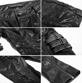 Detail image to PUNK RAVE Black Leather Worker Pants