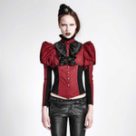 PUNK RAVE Steampunk-Bluse Rot 001