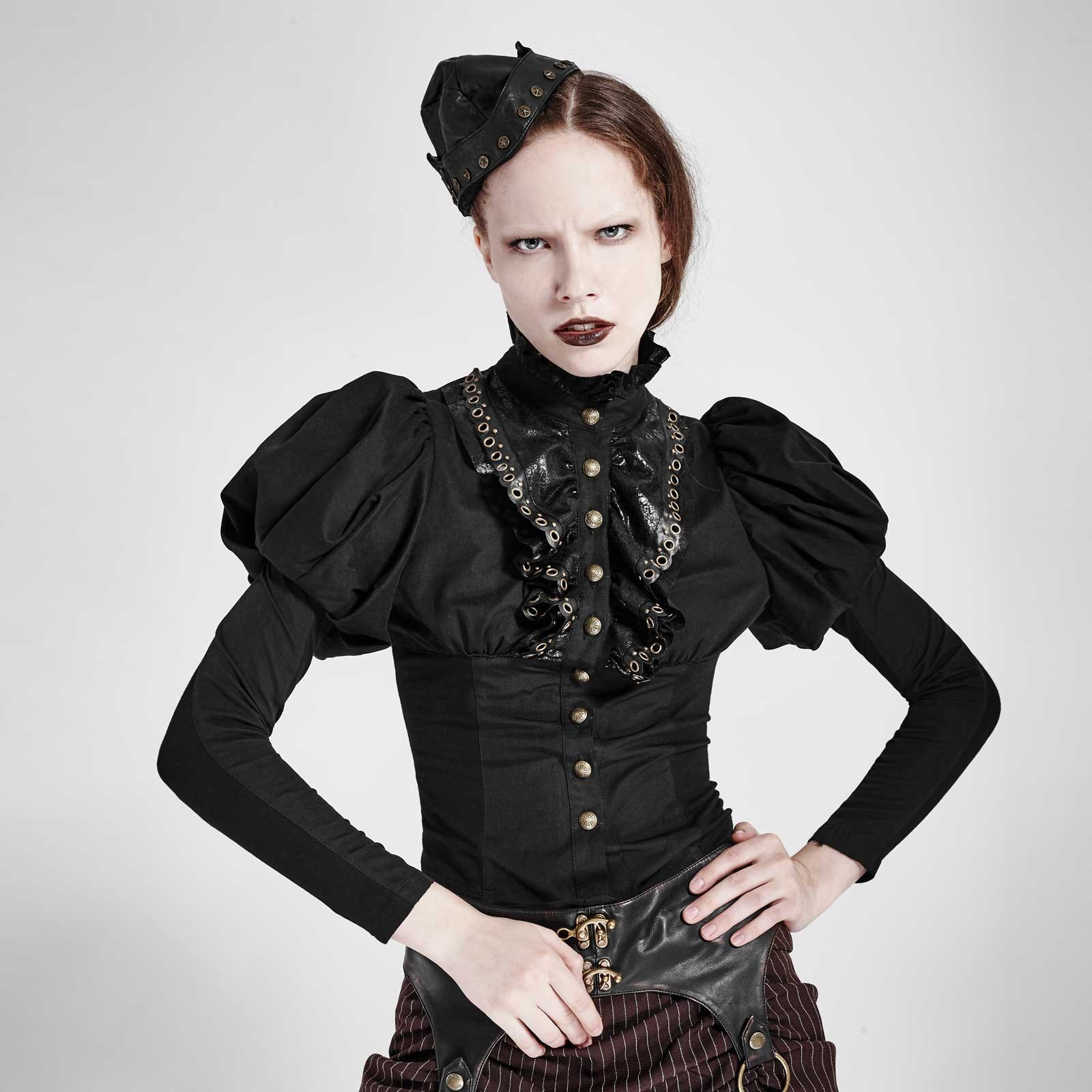 punk rave steampunk bluse schwarz gothic r schen bluse blouse shirt gothic ebay. Black Bedroom Furniture Sets. Home Design Ideas