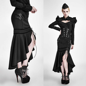 Detail image to PUNK RAVE Black Uniform Slit Skirt