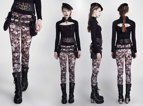 Detail image to PUNK RAVE Skull Leggings Brown
