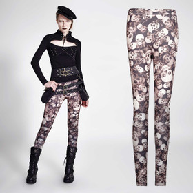 PUNK RAVE Skull Leggings Brown