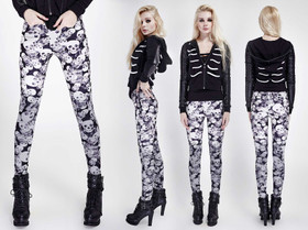Detail image to PUNK RAVE Skull Leggings Black