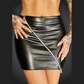 NOIR HANDMADE Ruler Wetlook Mini Skirt
