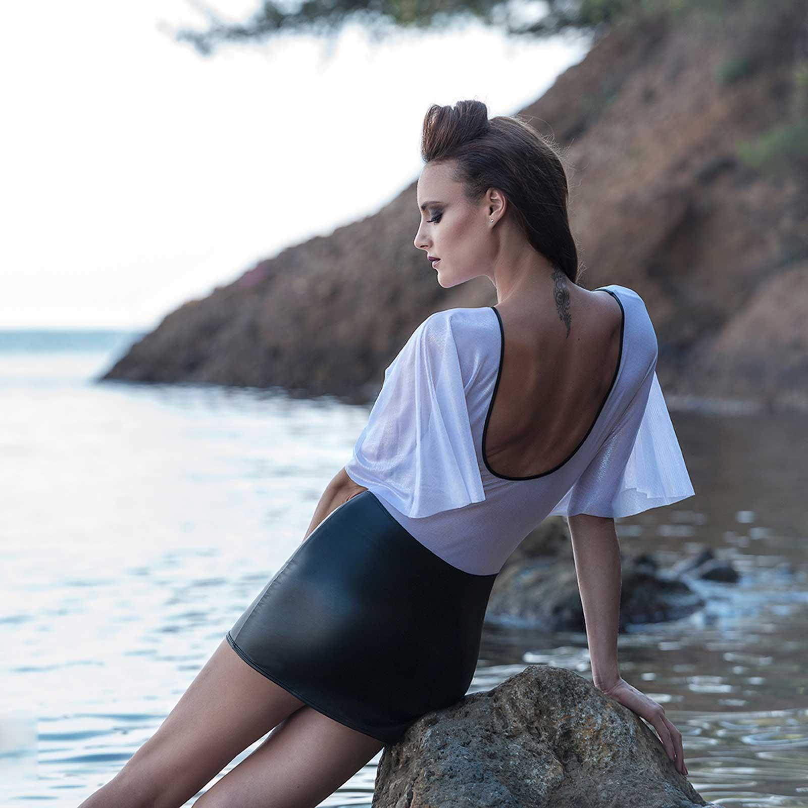 patrice catanzaro aloha white chiffon kleid durchsichtig see thru dress clubwear ebay. Black Bedroom Furniture Sets. Home Design Ideas