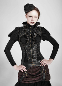 Detail image to PUNK RAVE Steampunk Corset Top Black