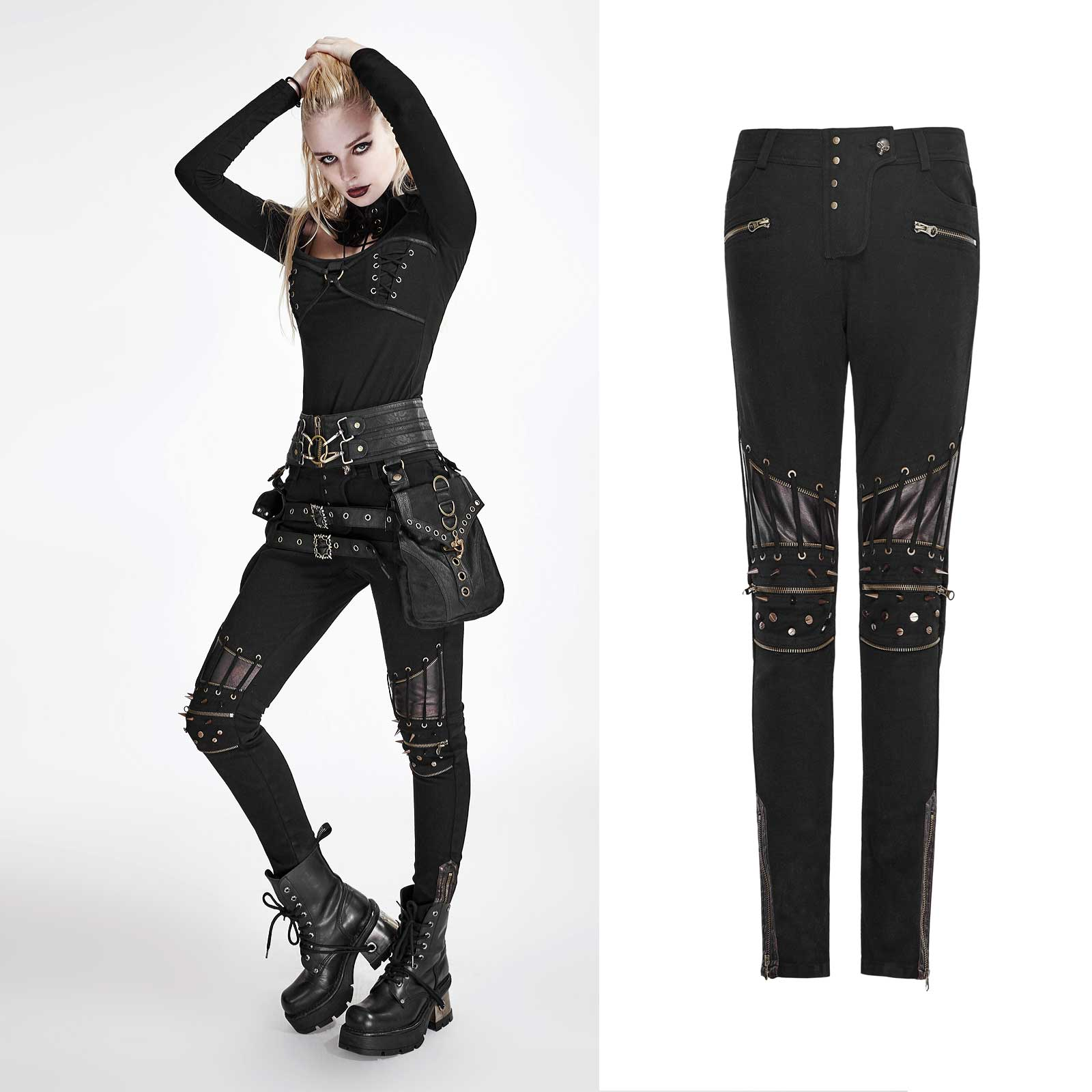 PUNK RAVE Gothic Hose Damen Industrial Punk Pants Killernieten Kunst ... 6494337e62