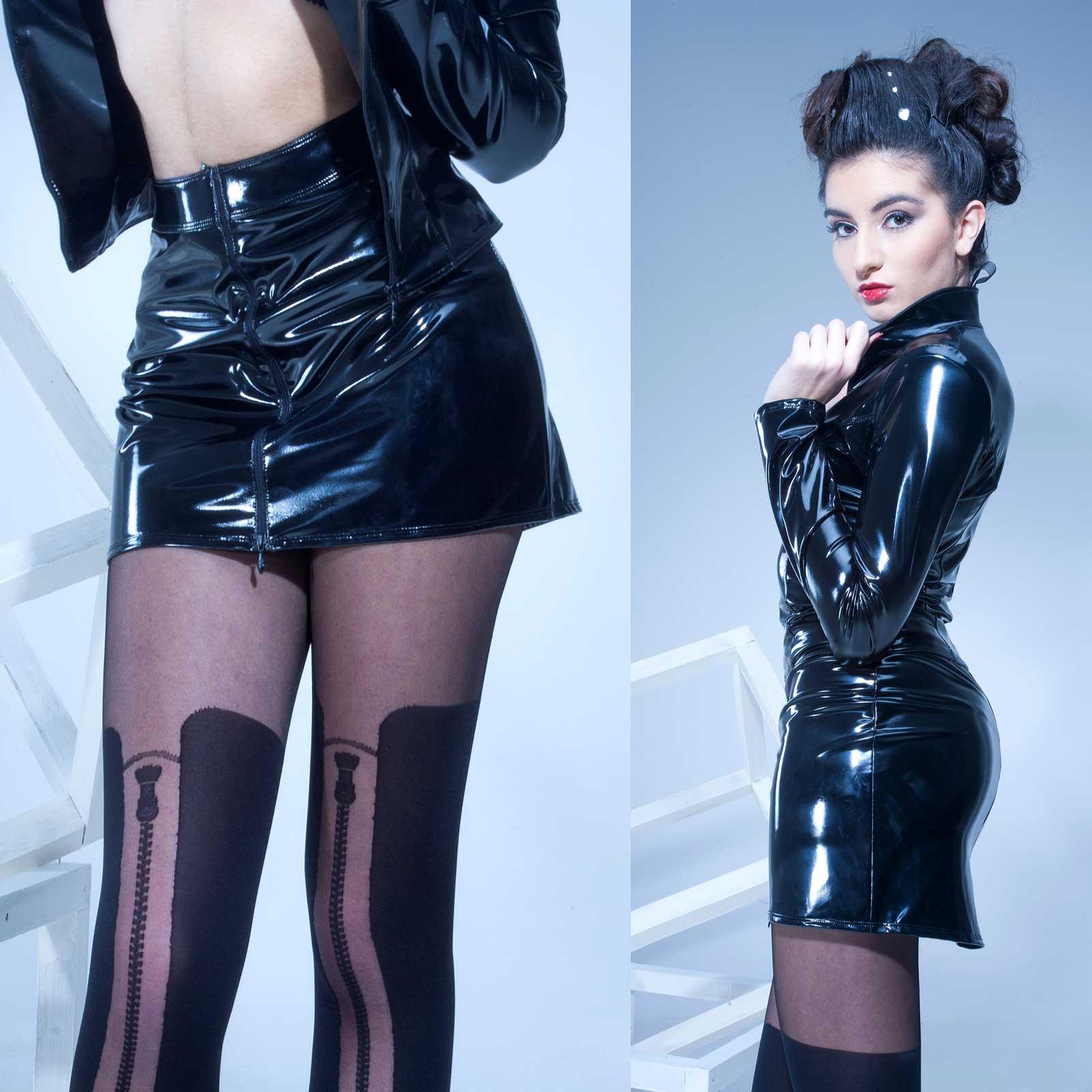 PATRICE CATANZARO Livinia Vinyl Mini Zip Skirt Black