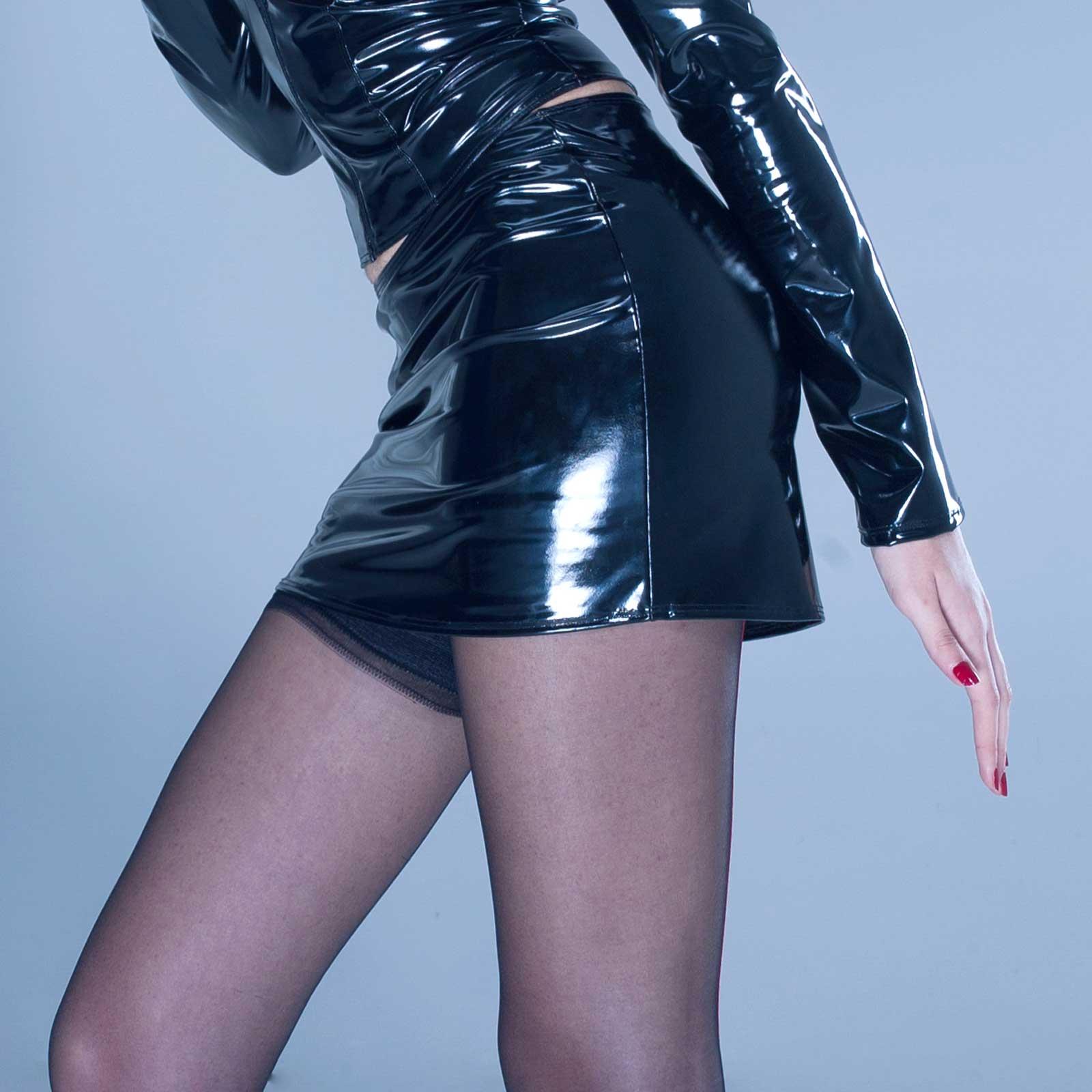 PATRICE CATANZARO Demon PVC Mini Skirt Black