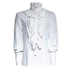 Detail image to PUNK RAVE Gothic Ruffle Shirt White