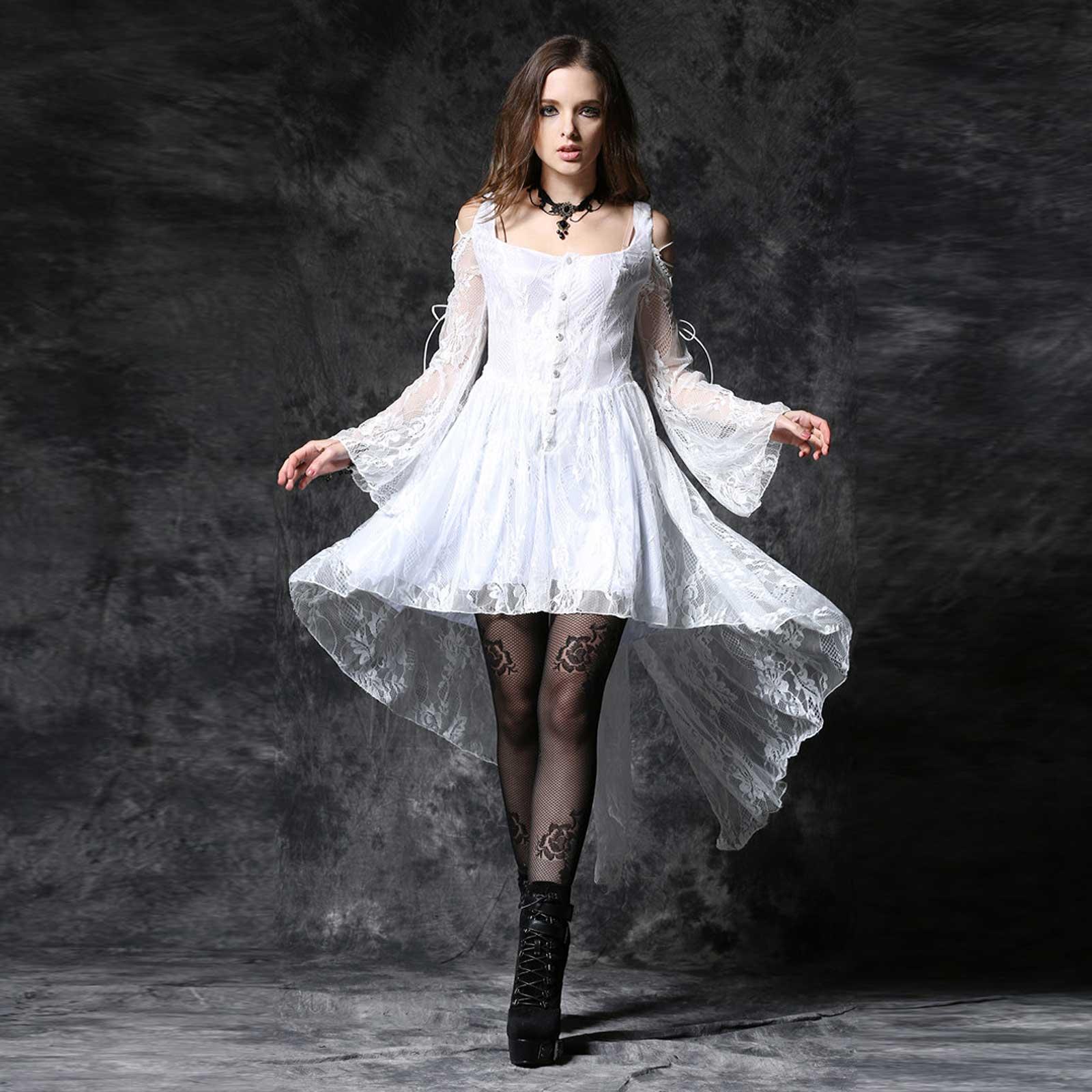 DARK IN LOVE Weißes Gothic Kleid mit viel Spitze White Lady Dovetail ...