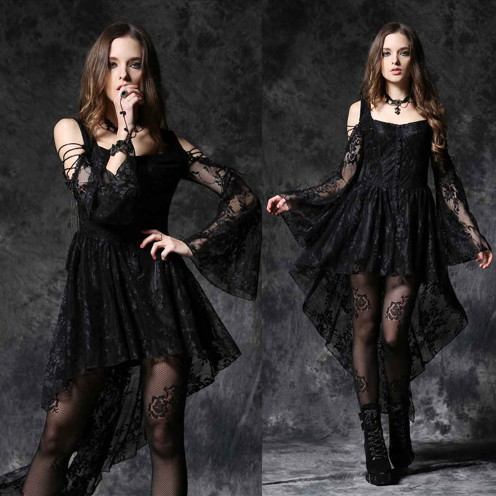 details about dark in love gothic dress black with lots of lace black lady  dovetail dress- show original title