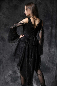 Detail image to DARK IN LOVE Black Lady Dovetail Dress