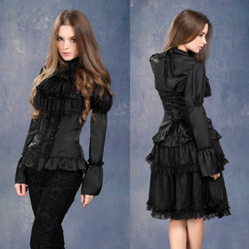 DARK IN LOVE Satin Noir Victorian Blouse